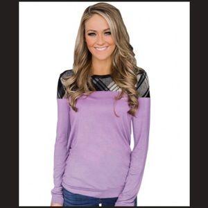 Tops - 💟 Purple Plaid Long Sleeve Preppy Spring Top!! 💟